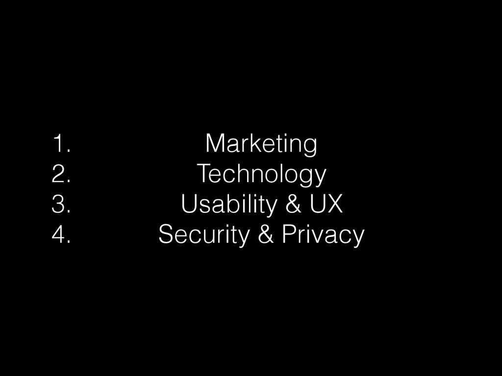 1. Marketing 2. Technology 3. Usability & UX 4....