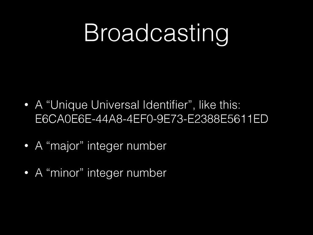 "Broadcasting • A ""Unique Universal Identifier"", ..."