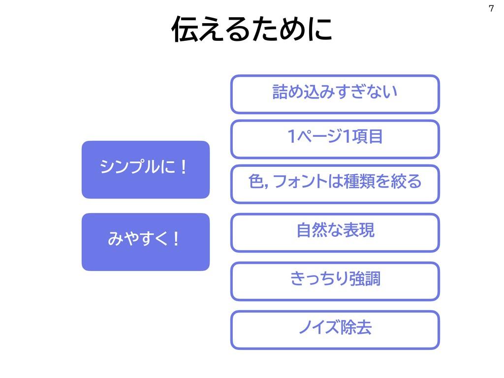 伝えるために 7 シンプルに! みやすく! 自然な表現 色,フォントは種類を絞る 1ページ1項...