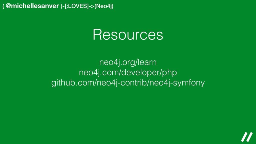 ( @michellesanver )-[:LOVES]->(Neo4j) Resources...