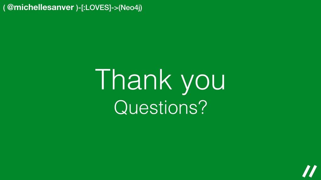 ( @michellesanver )-[:LOVES]->(Neo4j) Thank you...