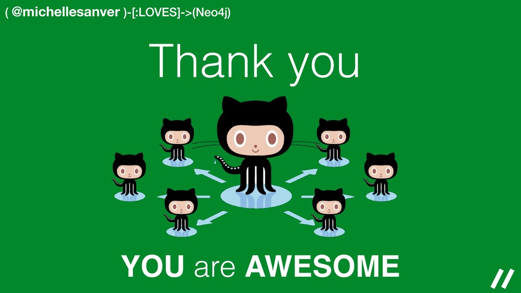 ( @michellesanver )-[:LOVES]->(Neo4j) YOU are A...
