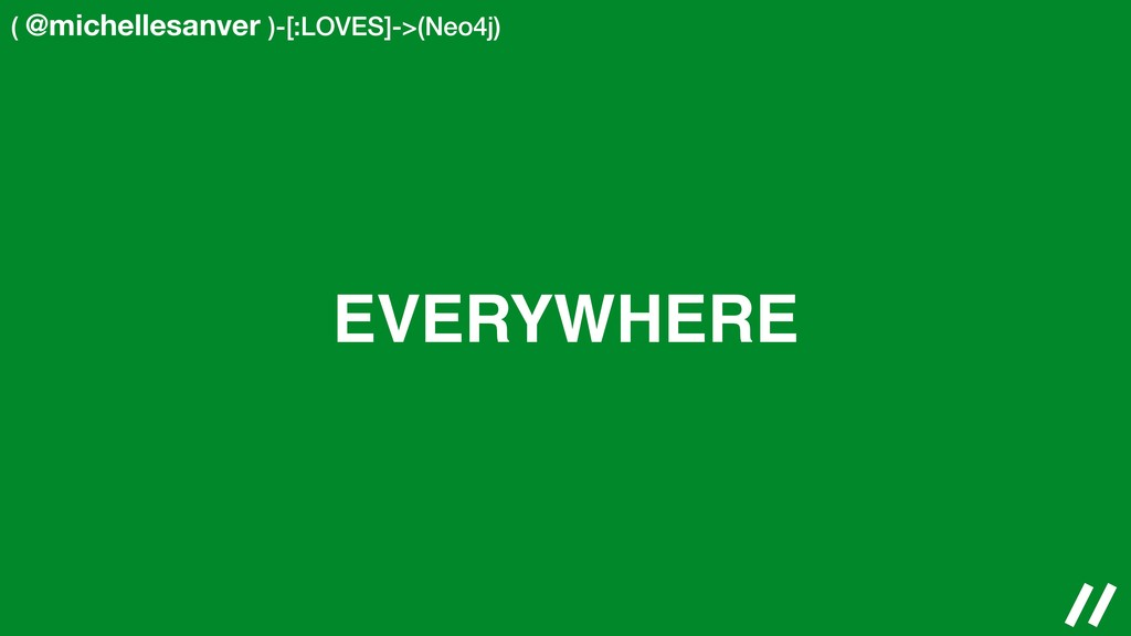 ( @michellesanver )-[:LOVES]->(Neo4j) EVERYWHERE