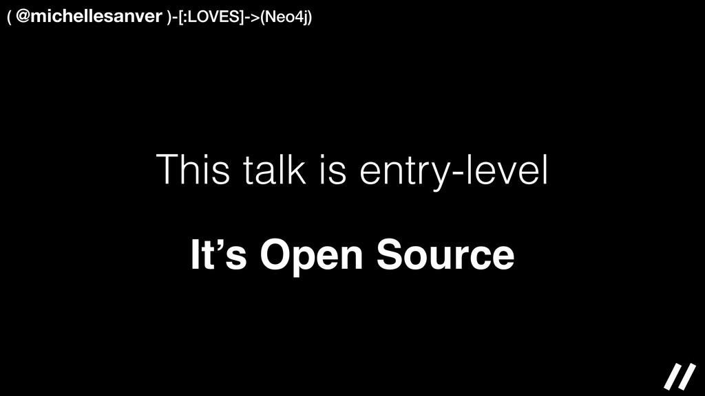 This talk is entry-level ( @michellesanver )-[:...