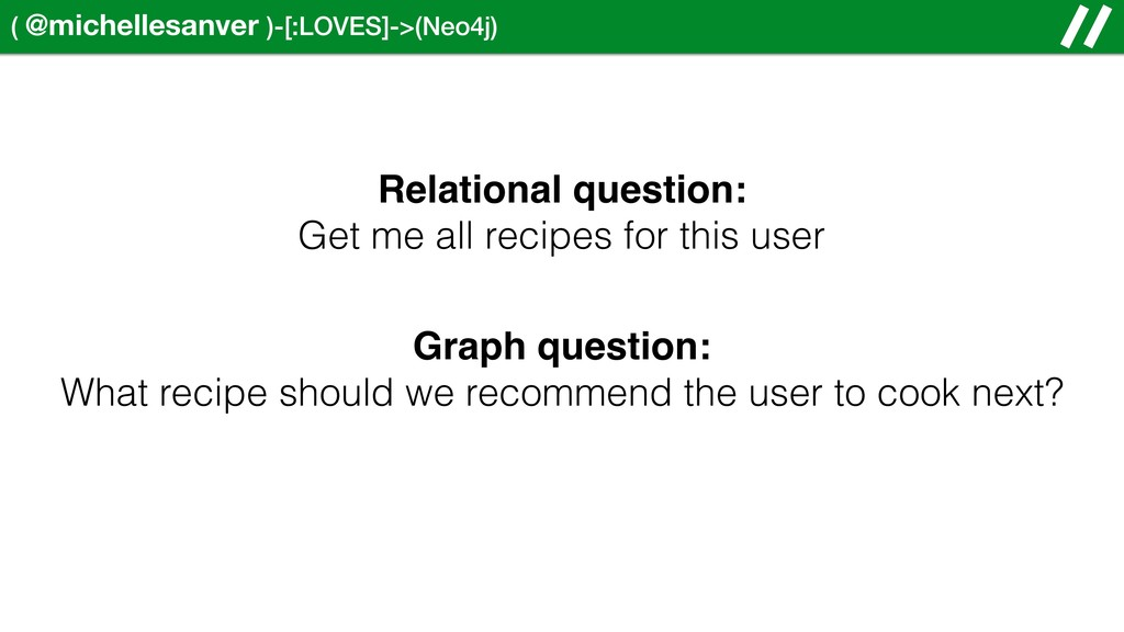 ( @michellesanver )-[:LOVES]->(Neo4j) Relationa...