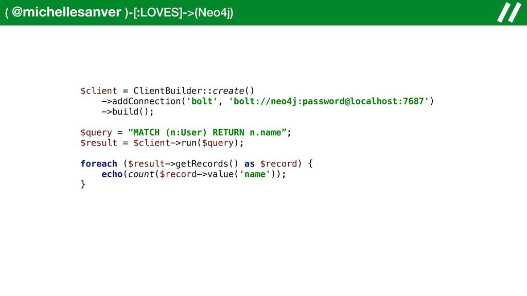 ( @michellesanver )-[:LOVES]->(Neo4j) $client =...