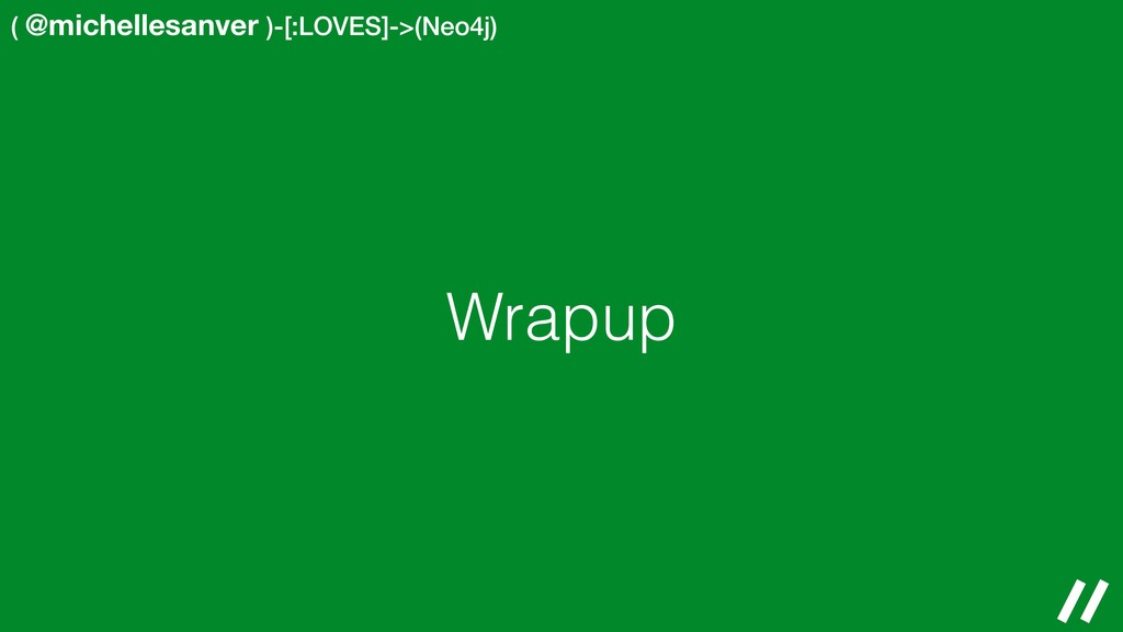 ( @michellesanver )-[:LOVES]->(Neo4j) Wrapup