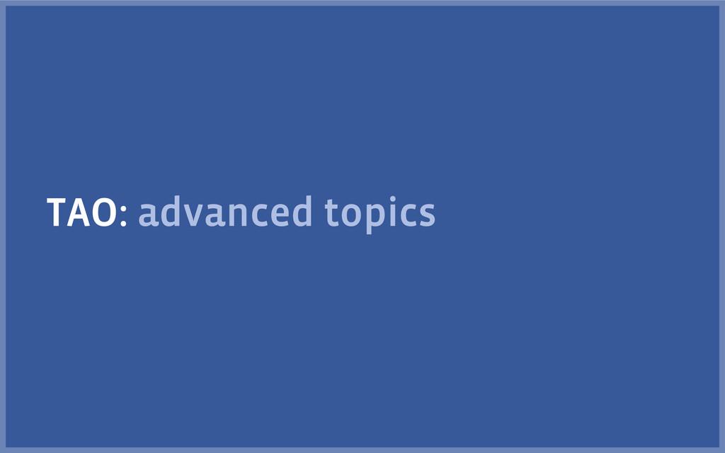 TAO: advanced topics