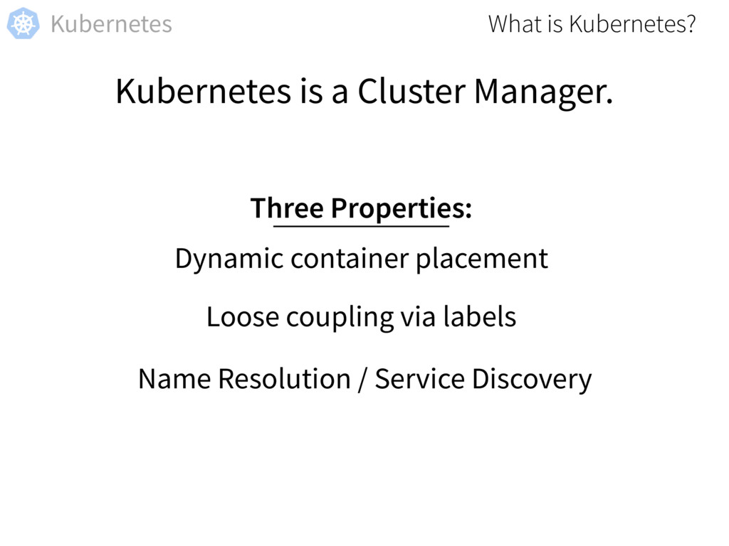 Kubernetes Kubernetes is a Cluster Manager. Dyn...