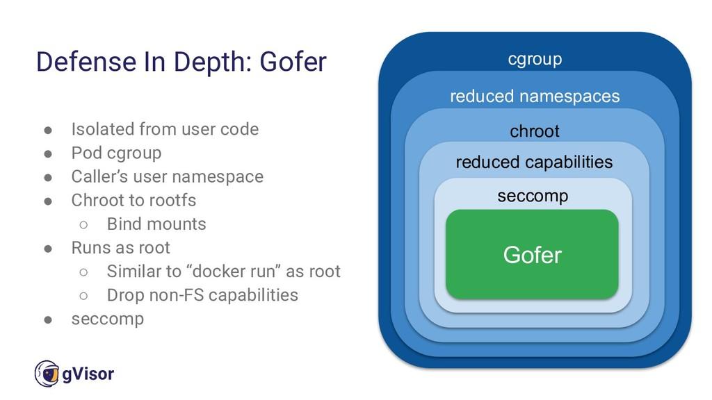 43 gVisor ● Isolated from user code ● Pod cgrou...