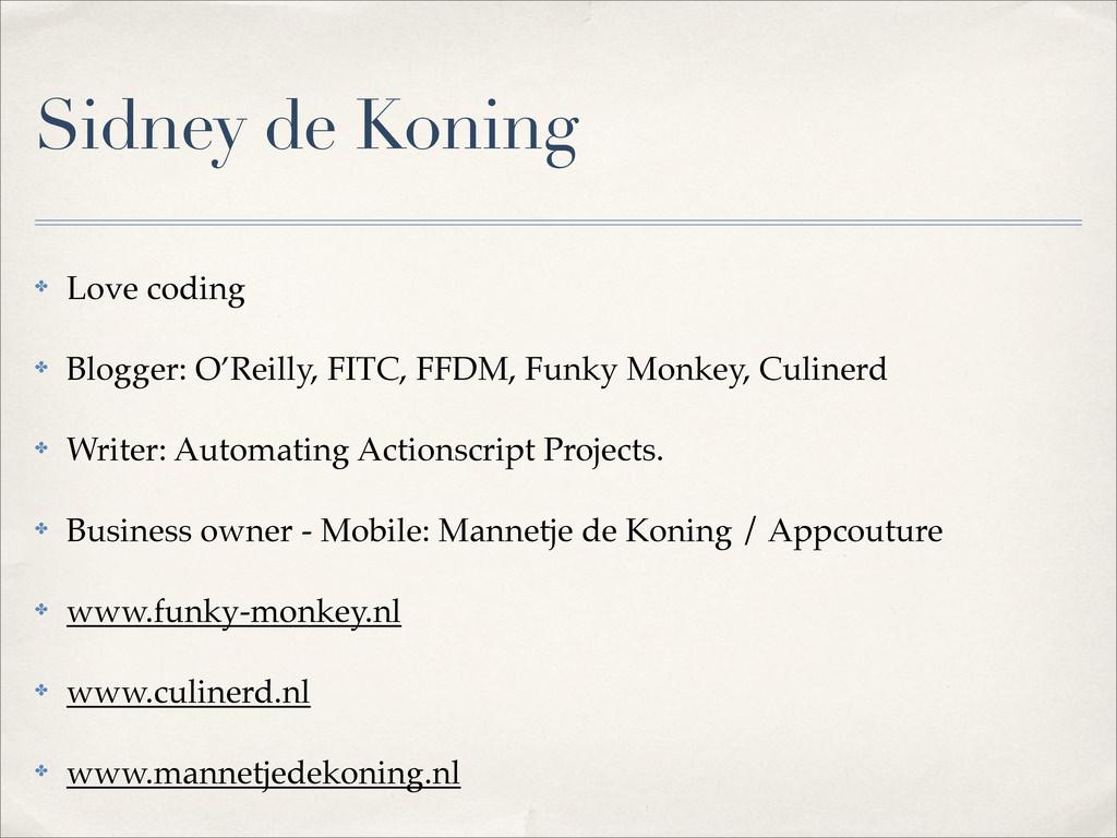 Sidney de Koning ✤ Love coding ✤ Blogger: O'Rei...