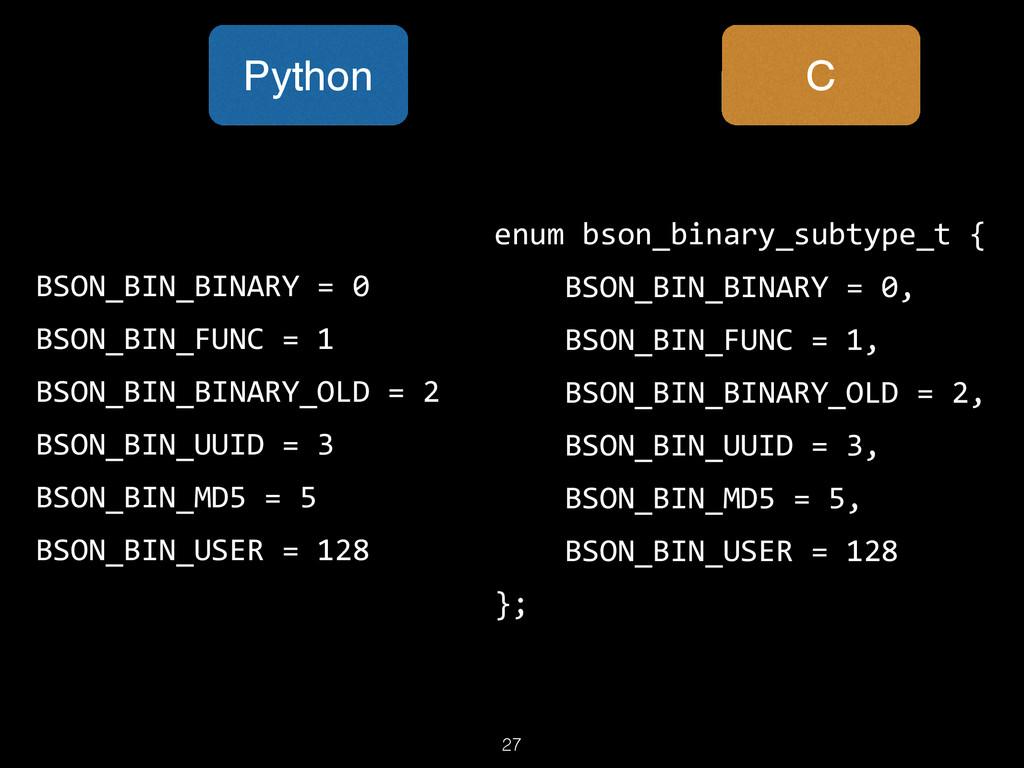 27 enum bson_binary_subtype_t {      BSO...