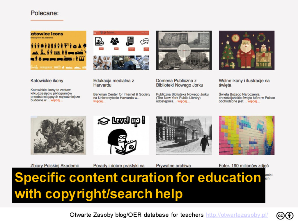 Specific content curation for education with co...