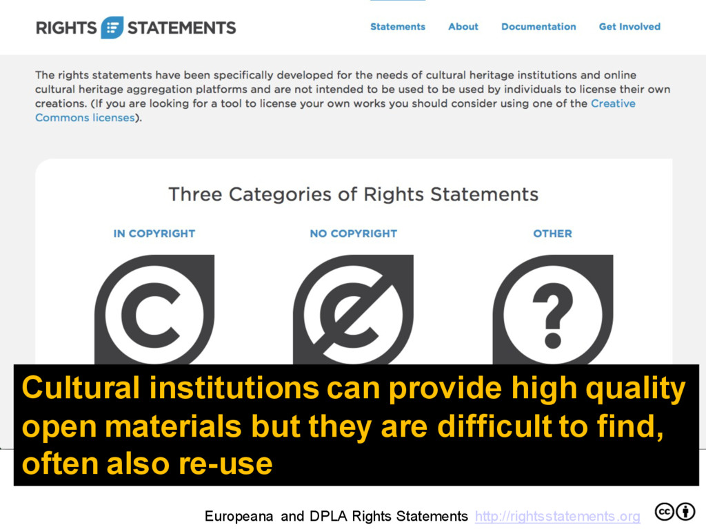 Europeana and DPLA Rights Statements http://rig...
