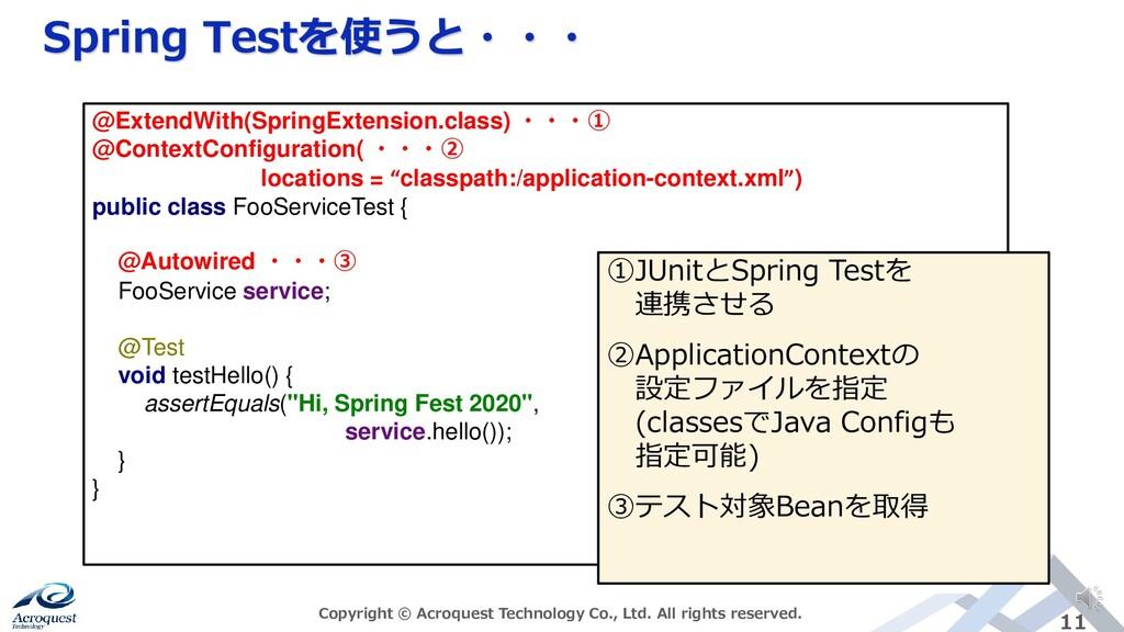 Spring Testを使うと・・・ Copyright © Acroquest Techno...