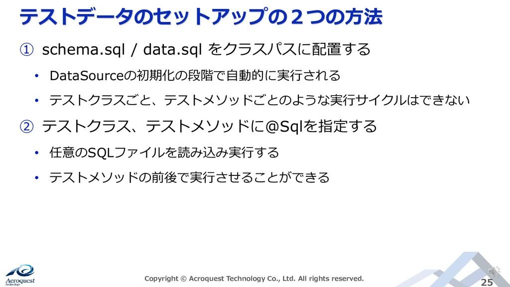 テストデータのセットアップの2つの方法 Copyright © Acroquest Techn...