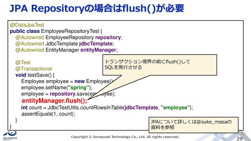 JPA Repositoryの場合はflush()が必要 Copyright © Acroqu...