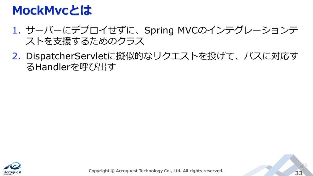 MockMvcとは Copyright © Acroquest Technology Co.,...