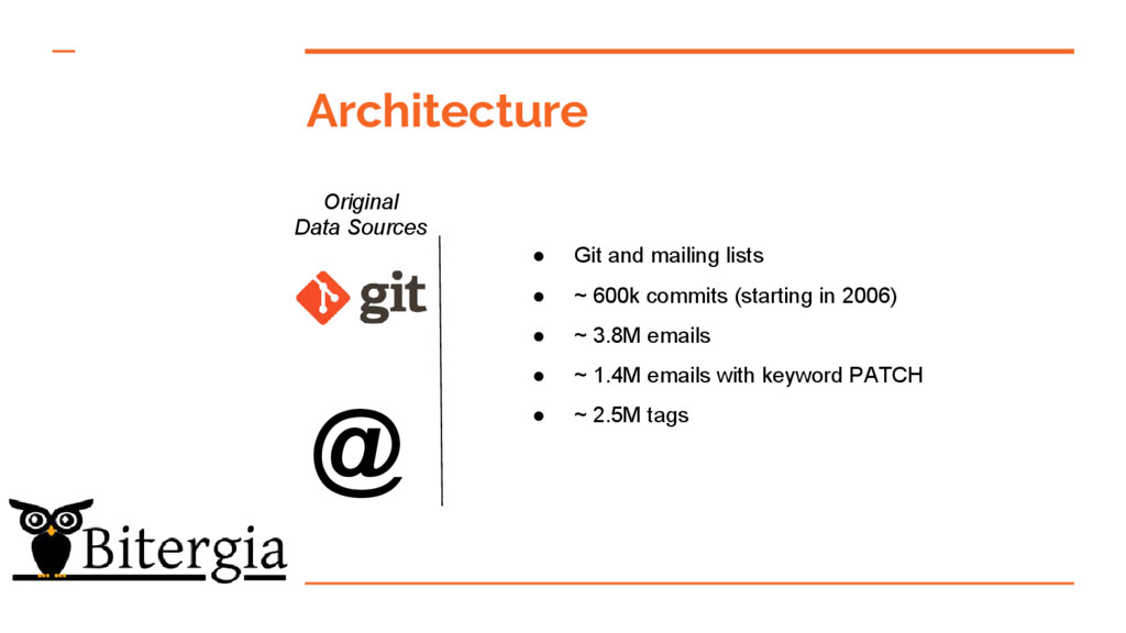 Architecture Original Data Sources ● Git and ma...