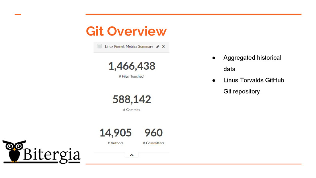 Git Overview ● Aggregated historical data ● Lin...