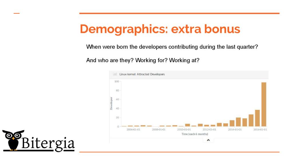 Demographics: extra bonus When were born the de...