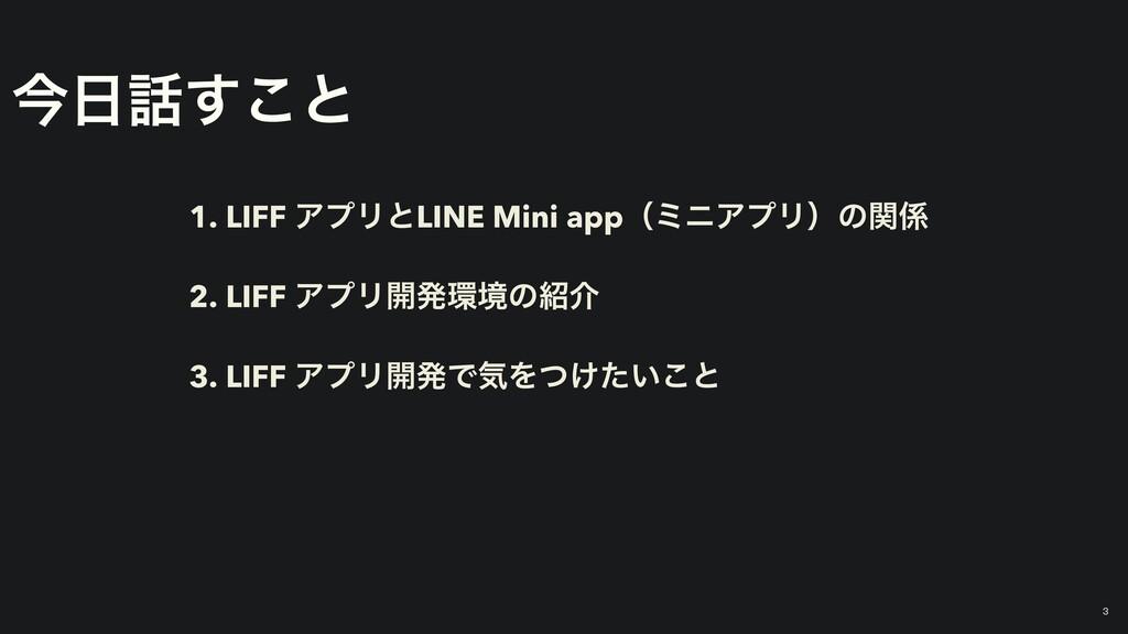 ࠓ͢͜ͱ 1. LIFF ΞϓϦͱLINE Mini appʢϛχΞϓϦʣͷؔ 2. L...