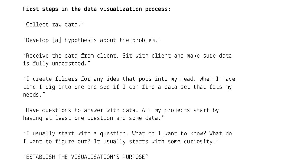 First steps in the data visualization process: ...