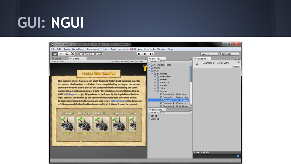 GUI: NGUI http://www.tasharen.com/?page_id=140
