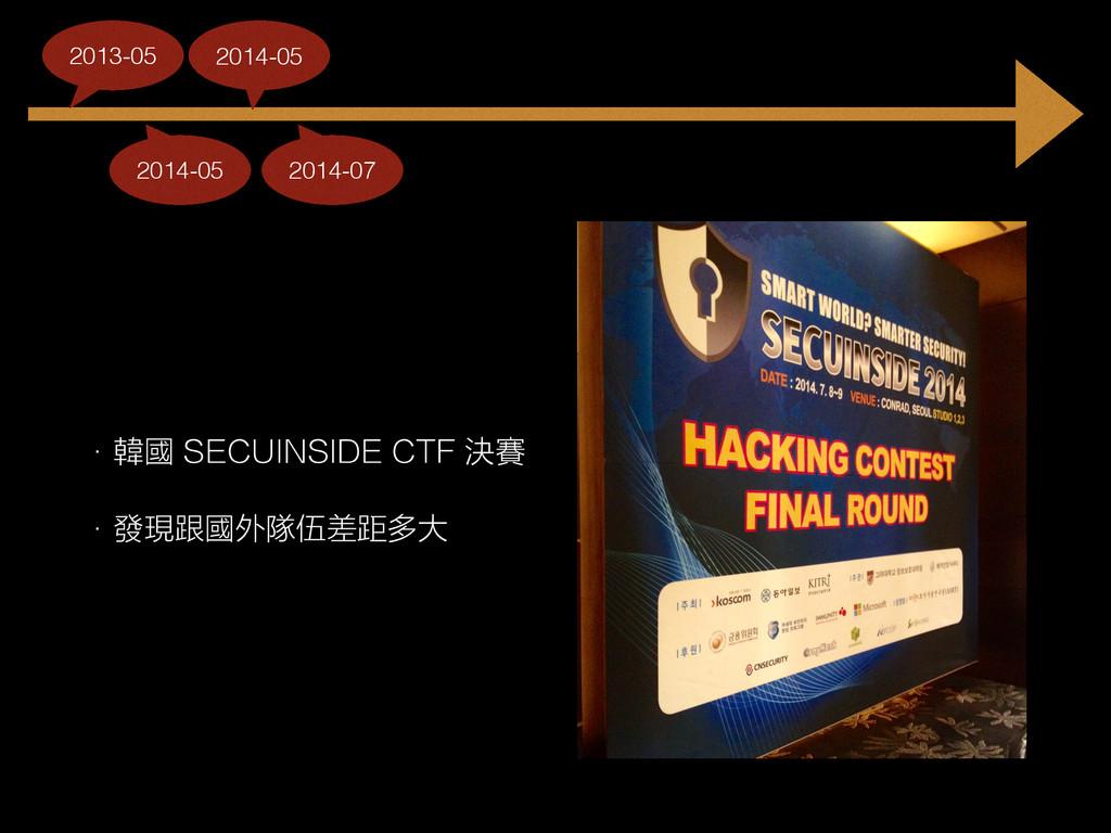 • 韓國 SECUINSIDE CTF 決賽 • 發現跟國外隊伍差距多大 2014-05 20...