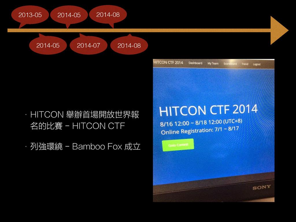 • HITCON 舉辦首場開放世界報 名的比賽 - HITCON CTF • 列強環繞 - B...