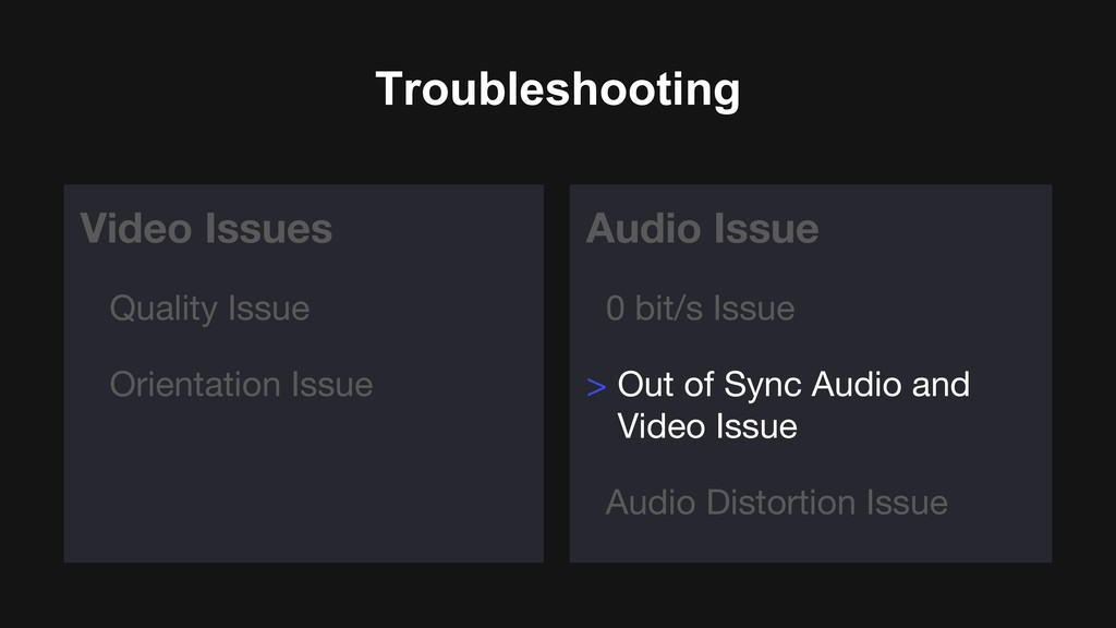 Troubleshooting Video Issues Quality Issue Orie...