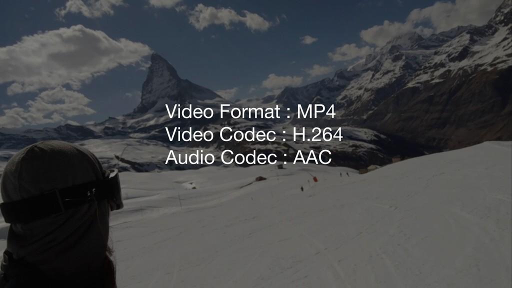 Video Format : MP4 Video Codec : H.264 Audio Co...