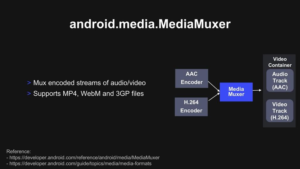 android.media.MediaMuxer > Mux encoded streams ...