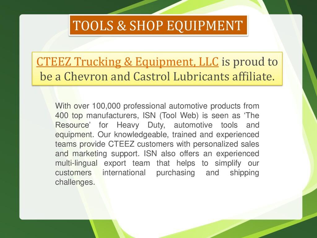 TOOLS & SHOP EQUIPMENT CTEEZ Trucking & Equipme...