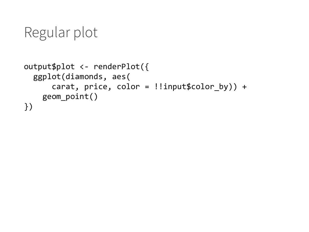 Regular plot output$plot <- renderPlot({ ggplot...