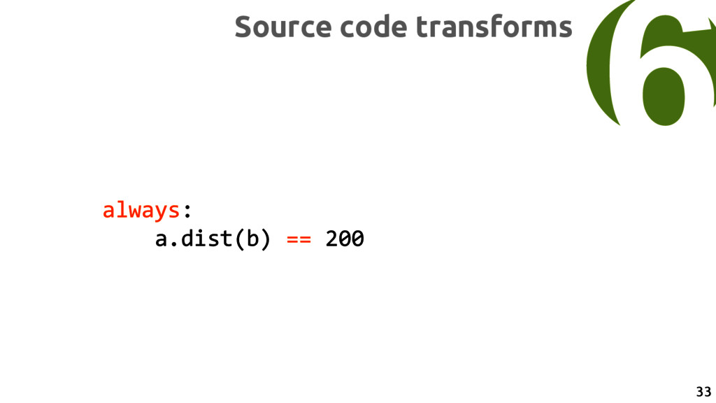 always: a.dist(b) == 200 6 Source code transfor...