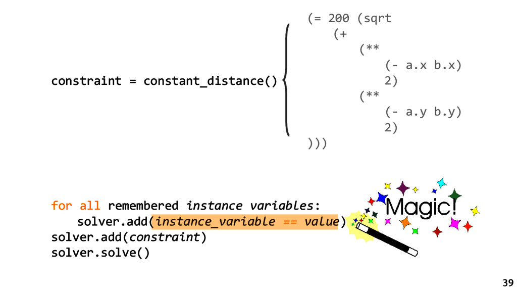 constraint = constant_distance() for all rememb...