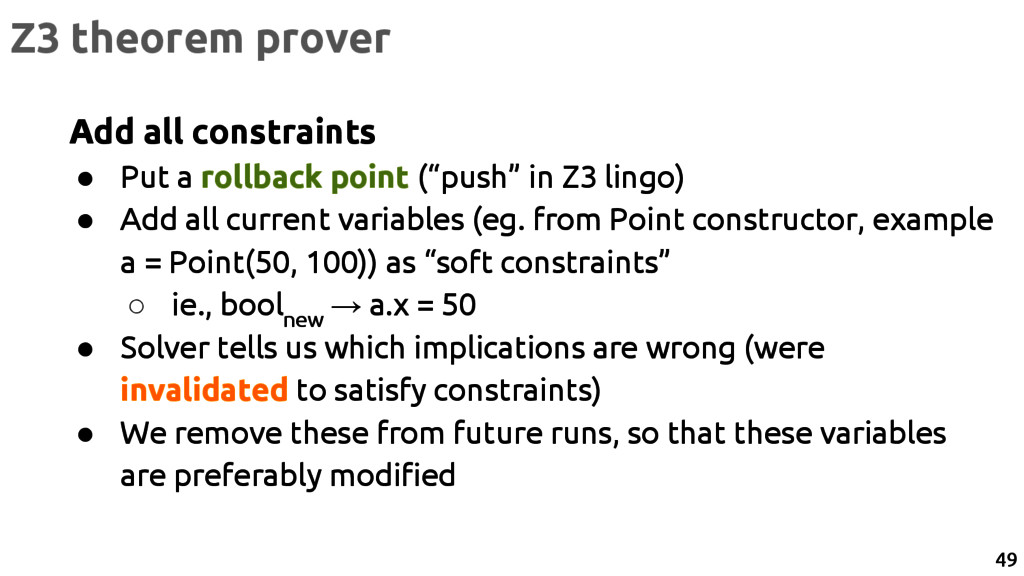 "Add all constraints ● Put a rollback point (""pu..."