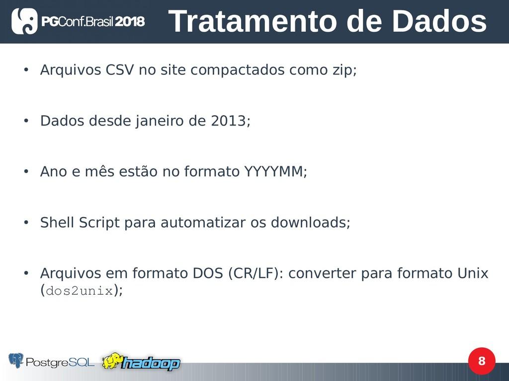 8 ● Arquivos CSV no site compactados como zip; ...