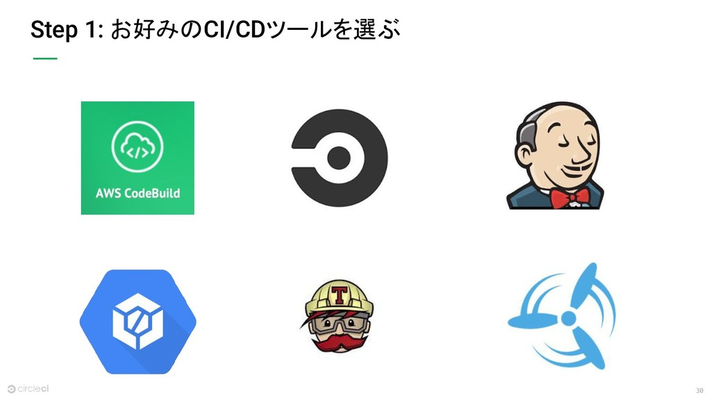 30 Step 1: お好みのCI/CDツールを選ぶ