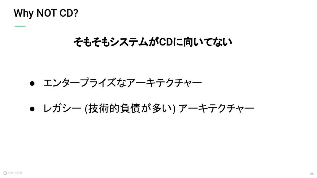 58 Why NOT CD? ● エンタープライズなアーキテクチャー ● レガシー (技術的負...