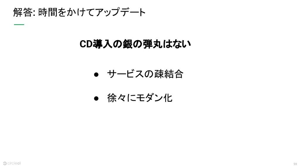 59 解答: 時間をかけてアップデート ● サービスの疎結合 ● 徐々にモダン化 CD導入の銀...