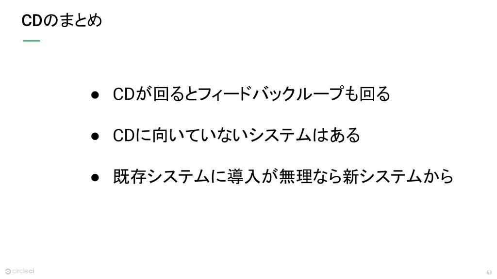 63 CDのまとめ ● CDが回るとフィードバックループも回る ● CDに向いていないシステム...
