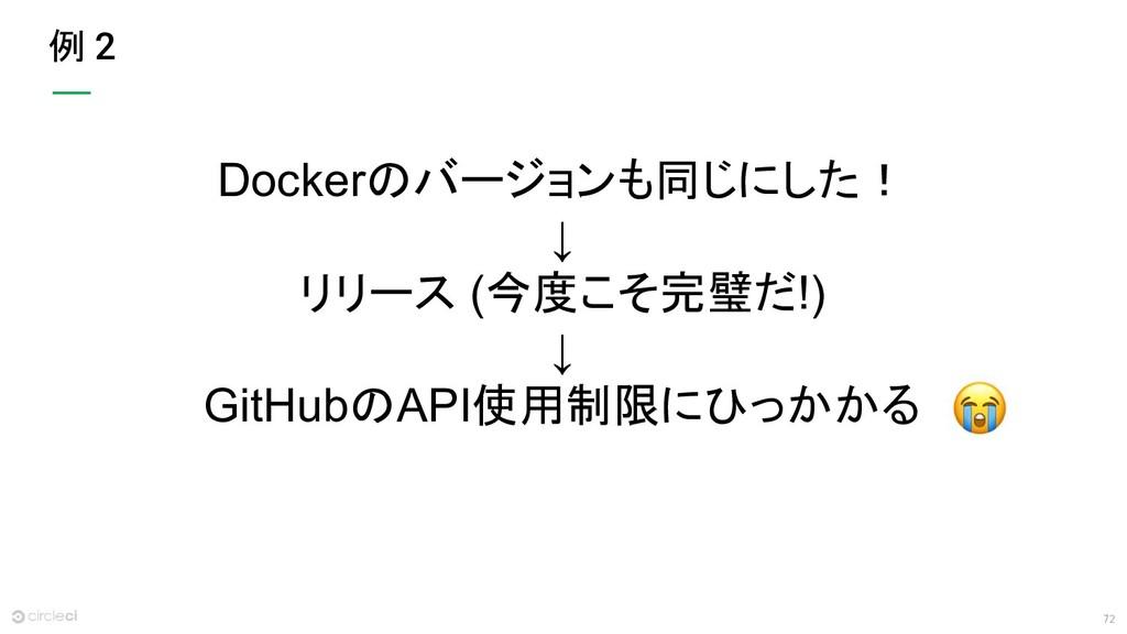 72 例 2 Dockerのバージョンも同じにした! ↓ リリース (今度こそ完璧だ!) ↓ ...