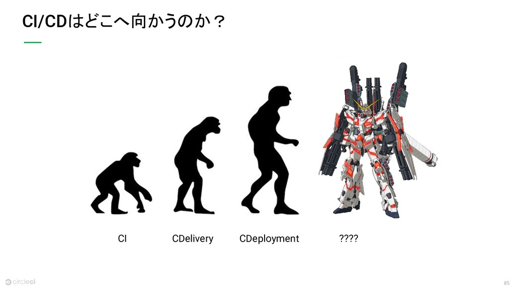 85 CI/CDはどこへ向かうのか? CI CDelivery CDeployment ????
