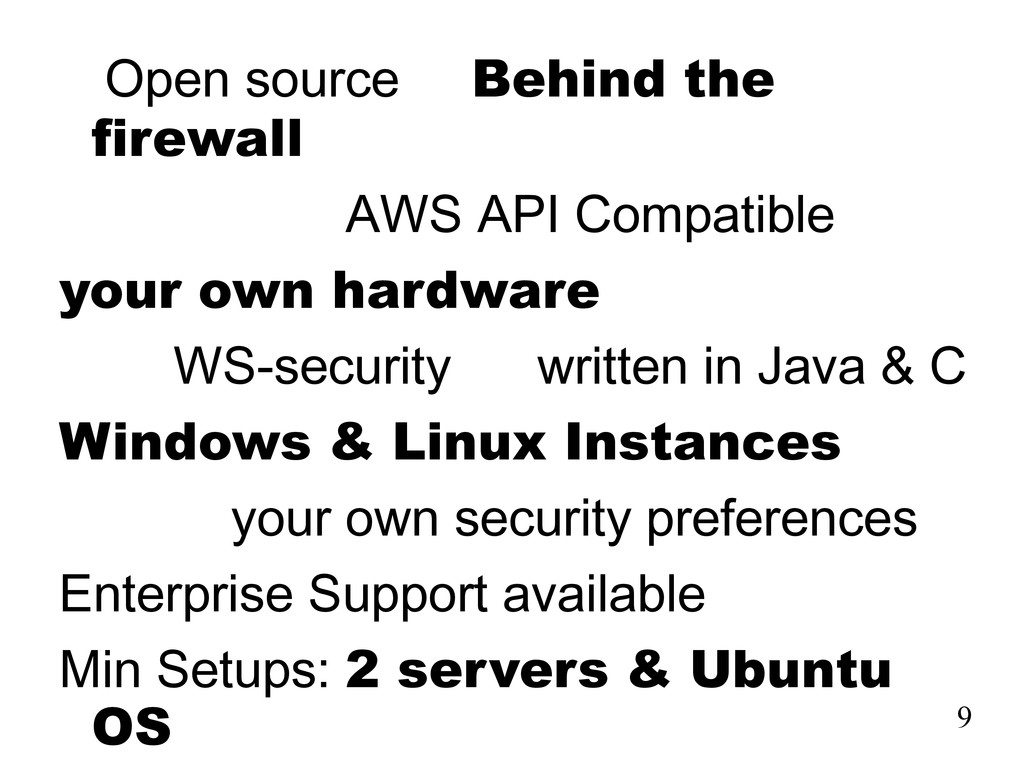 Open source Behind the firewall AWS API Compati...