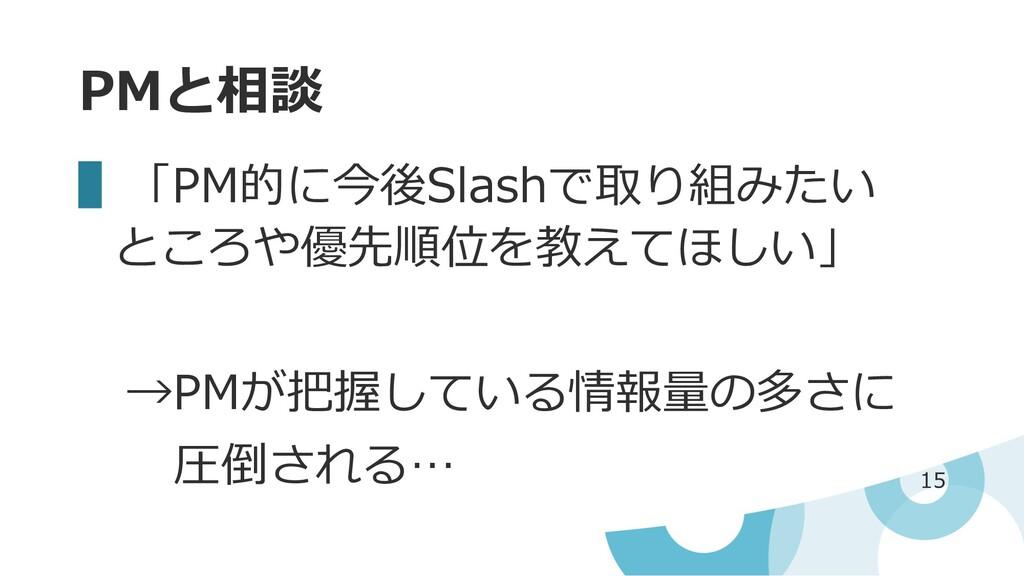 PMと相談 ▌「PM的に今後Slashで取り組みたい ところや優先順位を教えてほしい」 →PM...