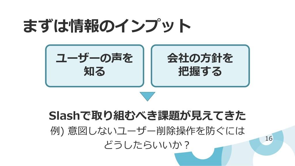 まずは情報のインプット 16 ユーザーの声を 知る 会社の⽅針を 把握する Slashで取り組...