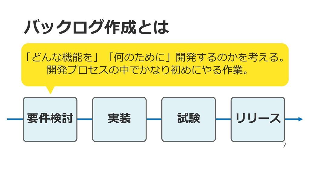 バックログ作成とは 要件検討 実装 試験 リリース 7 「どんな機能を」「何のために」開発する...