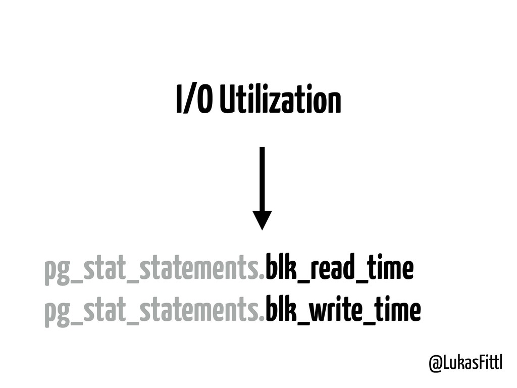 @LukasFittl I/O Utilization pg_stat_statements....